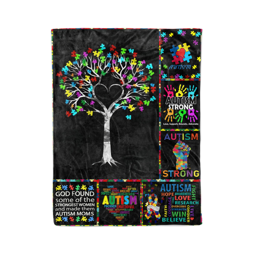 Autism Tree, Autism Strong Blanket - Fleece Blanket