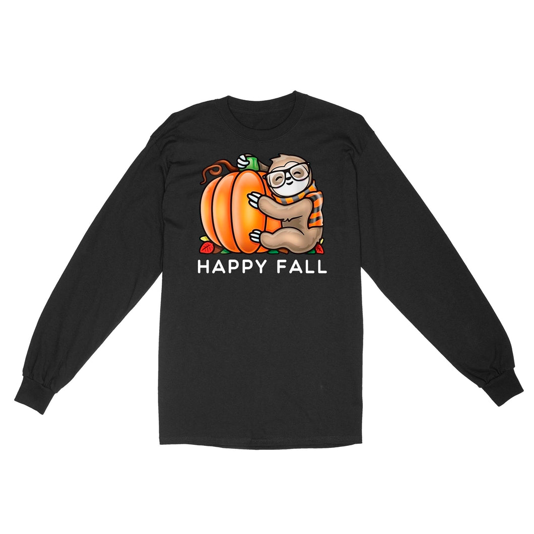 Happy Fall Cute Sloth Glasses Scarf Hugging A Pumpkin - Standard Long Sleeve