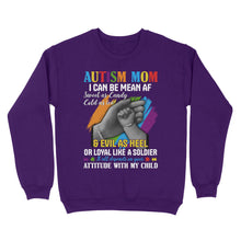 Load image into Gallery viewer, Autism Mom I Can Be Mean AF Sweet As Candy Cold As Ice & Evil As Heel - Standard Crew Neck Sweatshirt