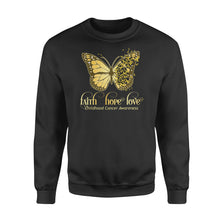 Load image into Gallery viewer, Butterfly Faith Hope Love Cure Childhood Cancer Awareness - Standard Crew Neck Sweatshirt
