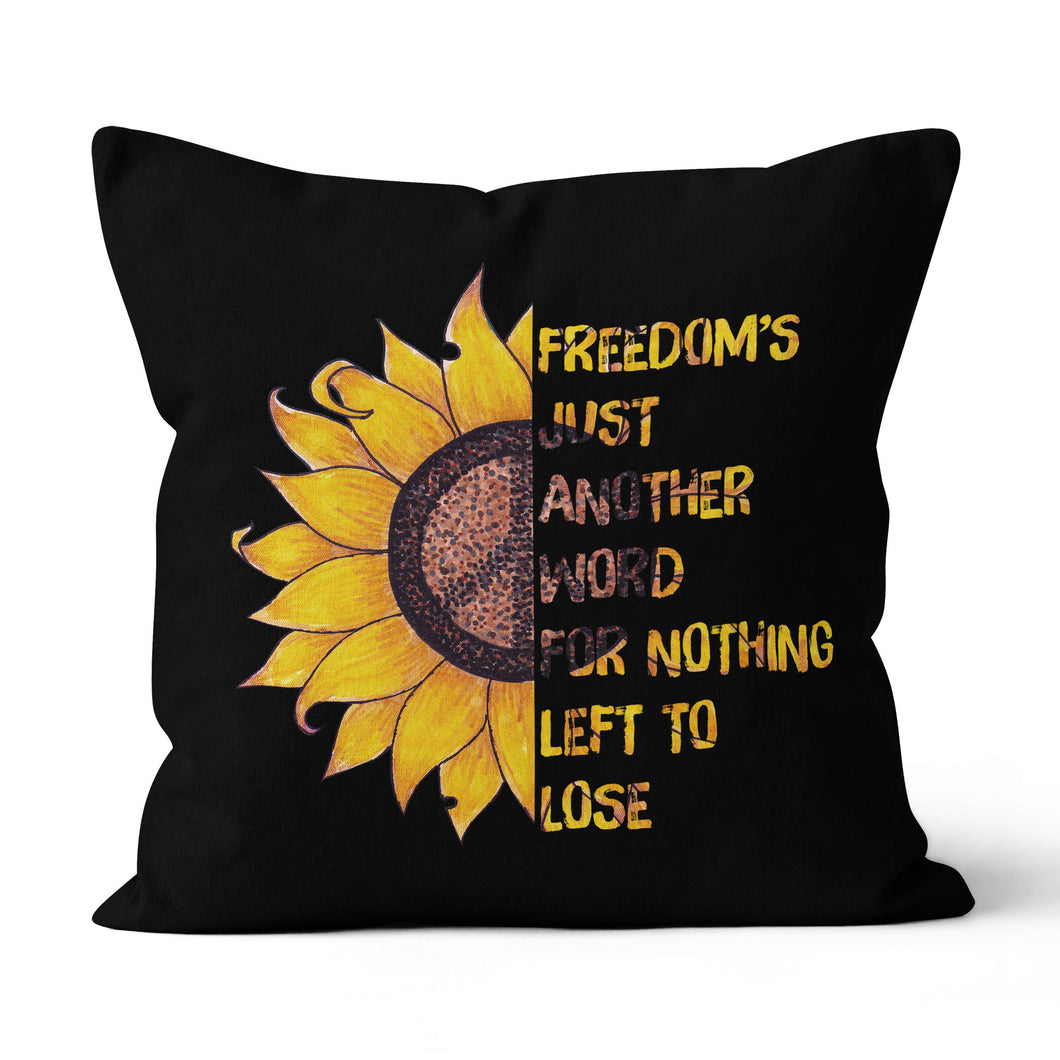 Freedom just another world hippie sunflower pillow - Canvas Pillow