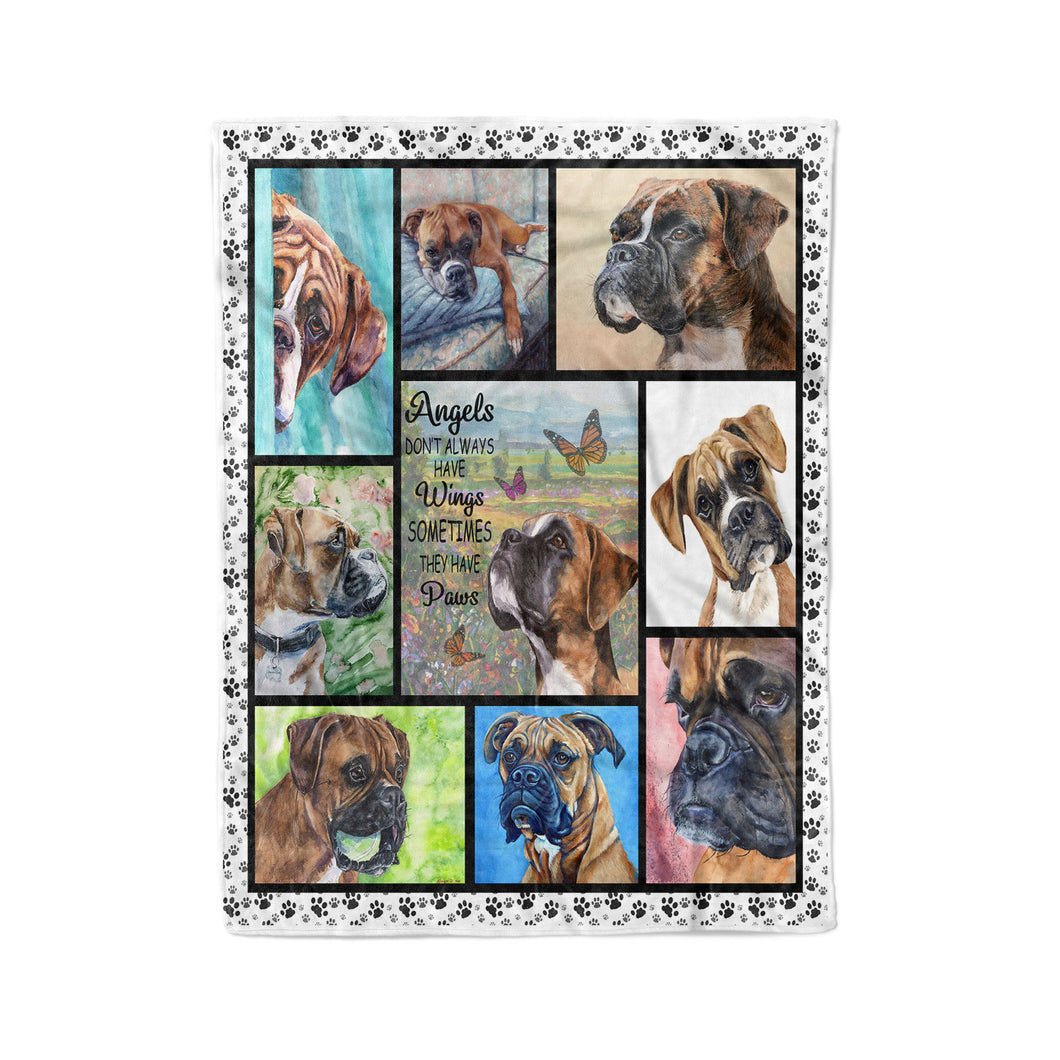Boxer Dog, Angels Don't Always Have Wings, Sometimes They Have Paws Blanket - Fleece Blanket