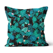 Load image into Gallery viewer, Black Cat Tropical Hawaii - Canvas Pillow