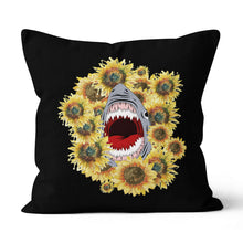 Load image into Gallery viewer, Shark Sunflower Pillow - Canvas Pillow