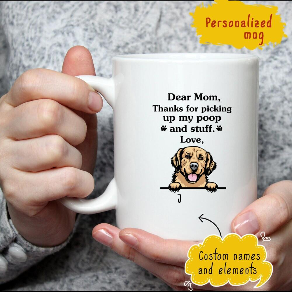 Thanks For Picking Up My Poop And Stuff, Golden Retriever Personalized Coffee Mug