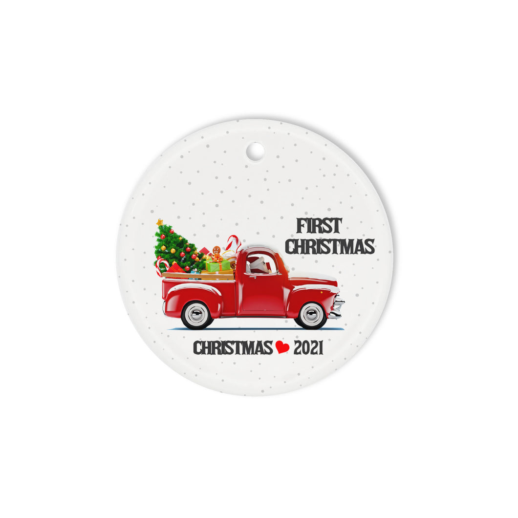 First Christmas 2021  Personalized Ceramic Circle Ornament - Circle Ornament (2 sided)