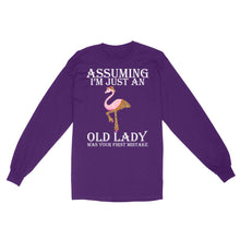 Load image into Gallery viewer, Assuming I'm Just An Old Lady Was Your First Mistake Leopard Skin Flamingo - Standard Long Sleeve