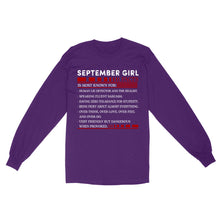 Load image into Gallery viewer, September Girl Facts - Standard Long Sleeve