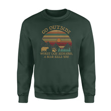 Load image into Gallery viewer, Go Outside Worst Case Scenario A Bear Kills You - Standard Crew Neck Sweatshirt