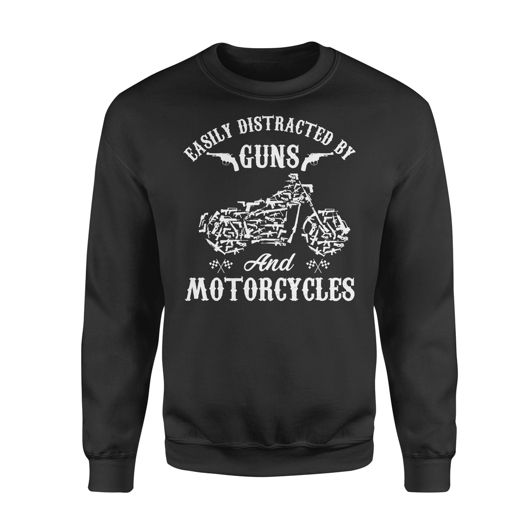 Easily Distracted By Guns And Motorcycles - Standard Crew Neck Sweatshirt