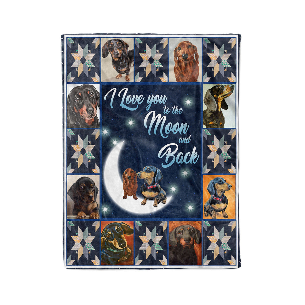 Dachshund I Love You To The Moon And Back Blanket