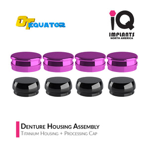 IQ-Rhein EQUATOR Denture Replacement Titanium Housing Assembly, (4-Pack)