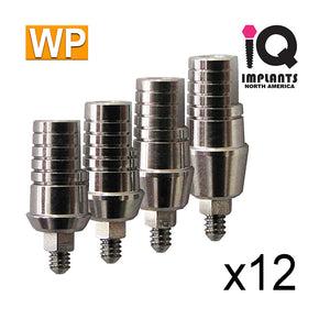 Straight Shoulder Abutment for Wide 4.5mm Platform, Variety Pack WP (12 Pack)