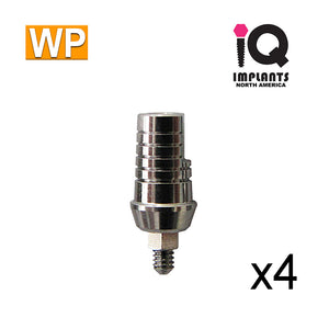Straight Shoulder Abutment for Wide 4.5mm Platform, 2mm WP (4 pack)