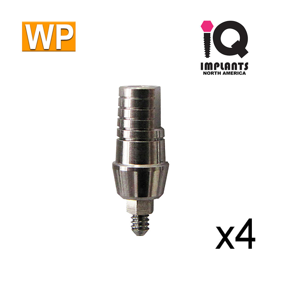 Straight Shoulder Abutment for Wide 4.5mm Platform, 3mm WP (4 Pack)
