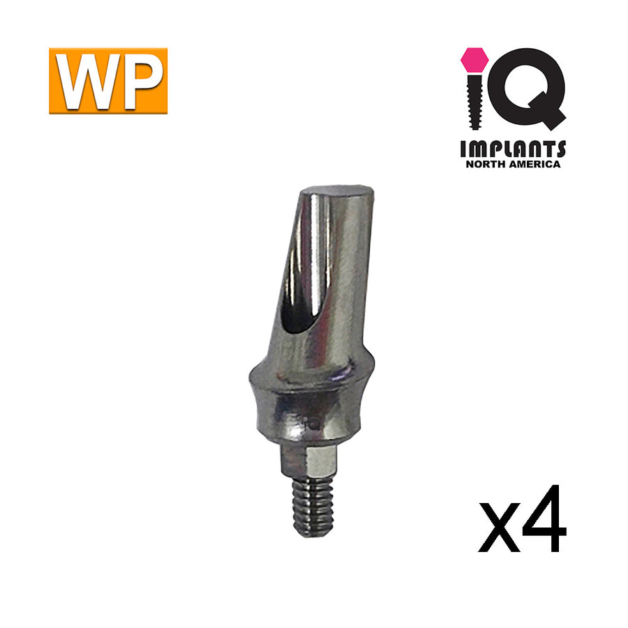 Angled Anatomic Shouldered Abutment, 15°  2mm Cuff WP (4 Pack)