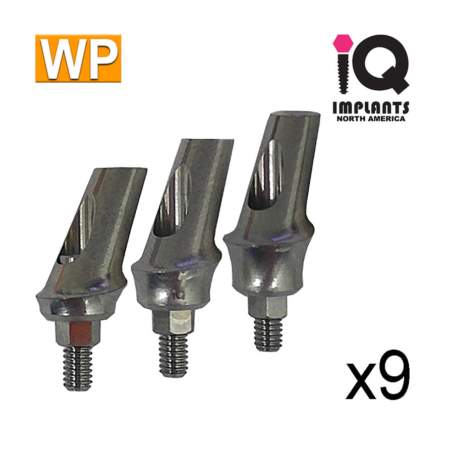 Angled Anatomic Shouldered Abutment, 25° Variety Pack WP (9 Pack)