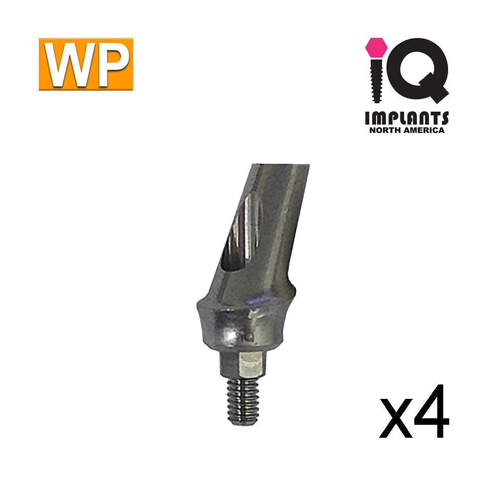 Angled Anatomic Shouldered Abutment, 25° 2mm Cuff WP (4 pack)