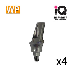 Angled Anatomic Shouldered Abutment, 15°  3mm Cuff WP (4 Pack)