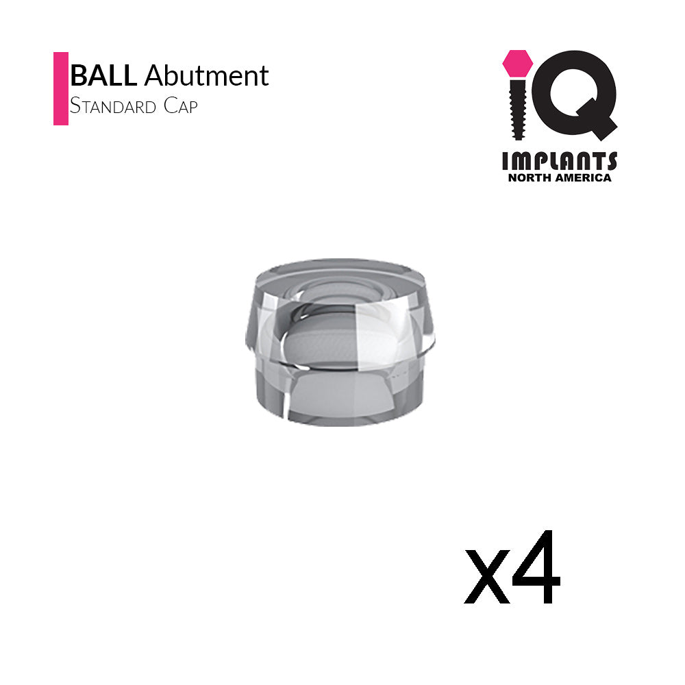 Ball Abutment Retentive Cap Standard, Clear 2.87lbs / 1300gr (4 pack)