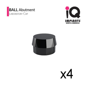 Ball Abutment Laboratory Processing Replacement Caps, Black (4 pack)