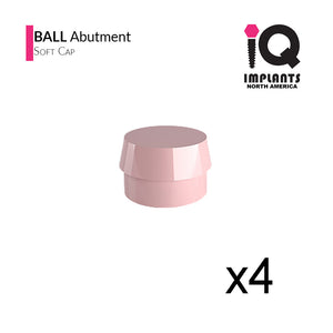 Ball Abutment Retentive Caps Soft, Pink 1.98lbs / 900gr (4 pack)