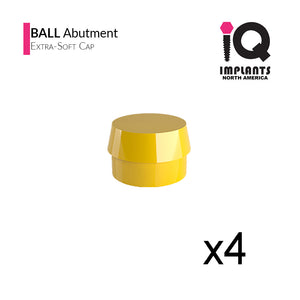 Ball Abutment Retentive Caps Xtra-Soft, Yellow 1.1lbs / 500gr (4 pack)
