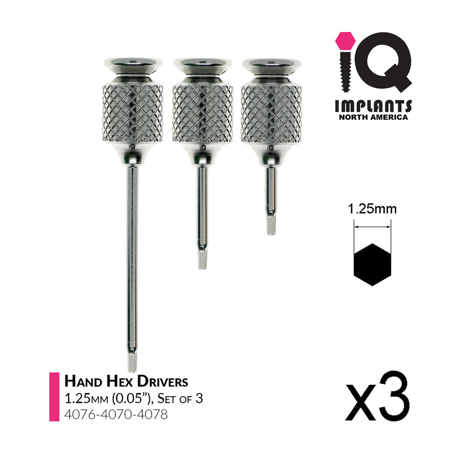 Hand Hex Driver, 1.25mm x10/15/30mm (3-Pack)