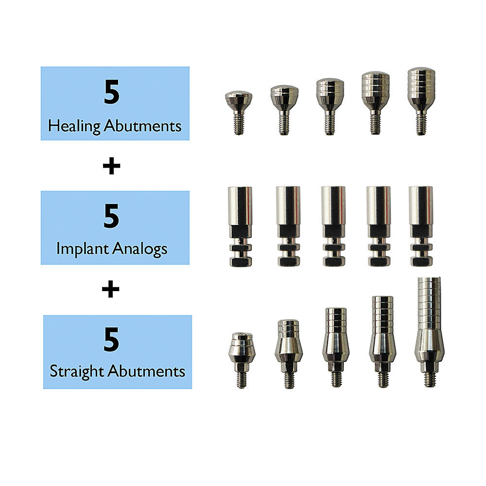 SPECIAL:  5 Straight Abutments + 5 Analogs + 5 Healing Abutments