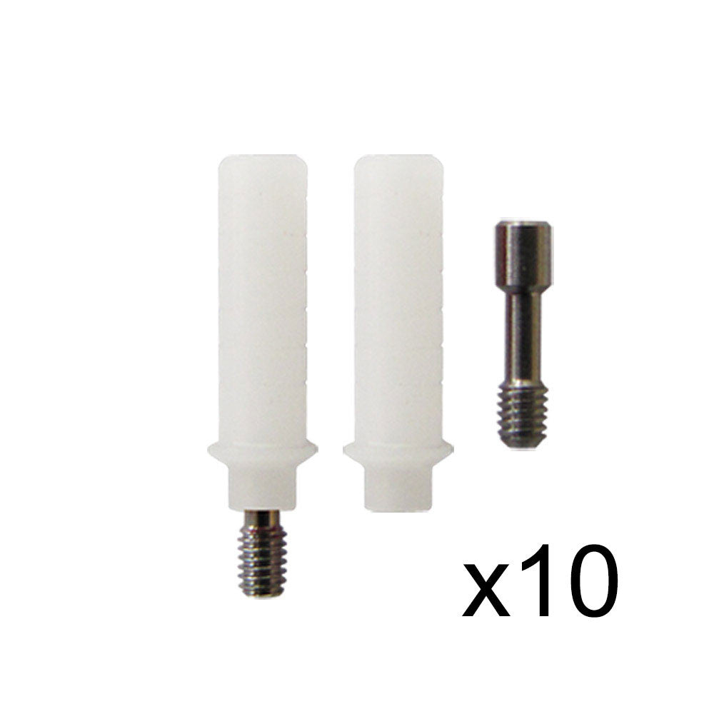Plastic Castable Abutments without Hex (Rotational), Set of 10