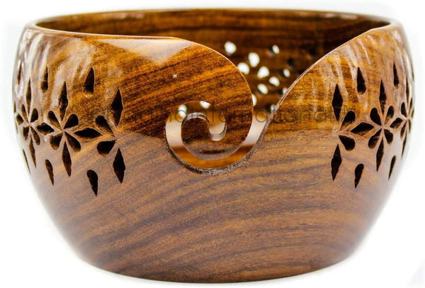 Rosewood Crafted Wooden Yarn Bowl with Carved Holes & Drills.