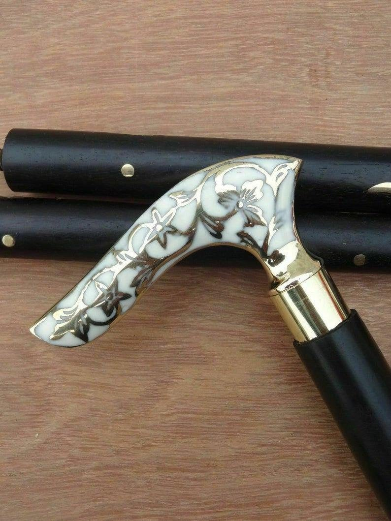 White Flower Leaf Victorian Handle handmade brass walking stick.