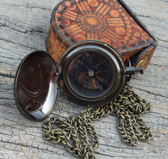 Beautiful Anchor pocket  compass with bag.