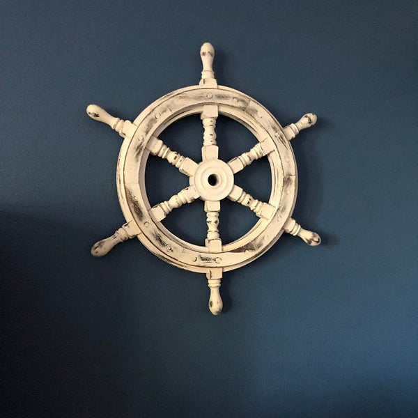 "Scott handicraft Premium Nautical Handcrafted 20"" White Wooden Ship Wheel"