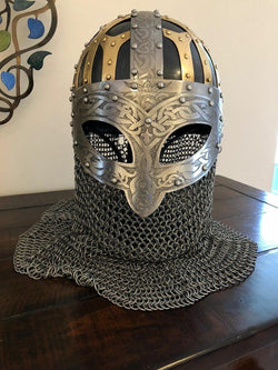 Viking Helmet Vendal Steel & Brass Viking Helmet Chain mail Helmet