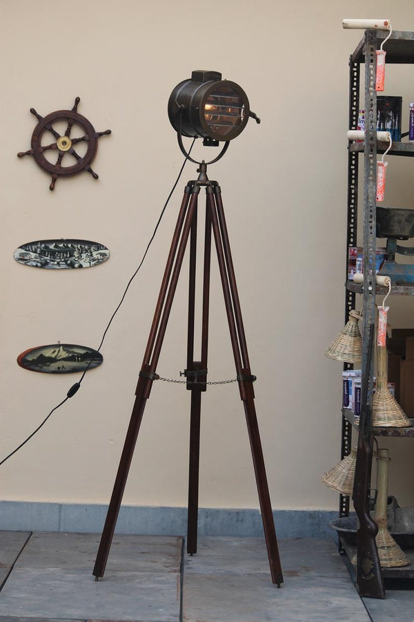 Vintage Model Antique Brown Home Decor Tripod Floor Lamp - Scott Handicrafts