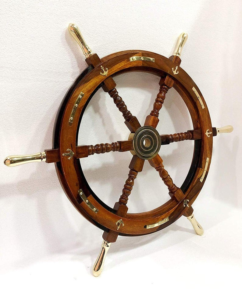 "24"" Ship Wheel Pirate Rustic Captain Wall Home Décor."