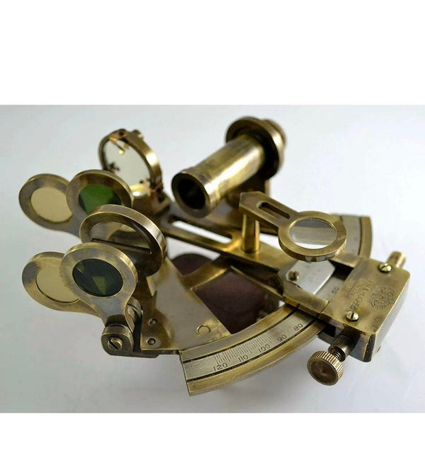 Solid Brass Sextant With Handmade Leather Case-Marine Gift.