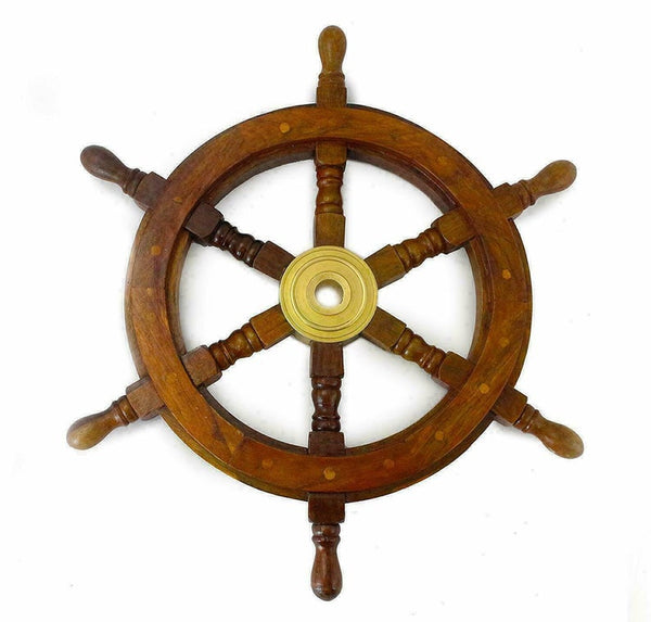 18'' Handmade Pirate Ship's Wheel Steering Brass Ship Wheel.