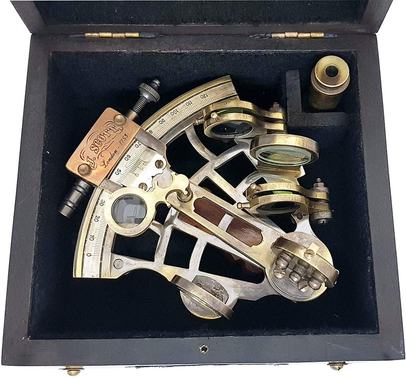 J. Scott London-Brass Ship History Sextant with Wooden Box.