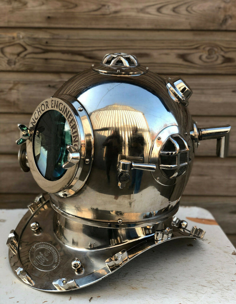 Beautiful Silver Anchor Diving / Divers Helmet.
