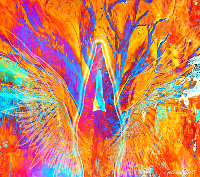 Phoenix Rising is a beautiful colorful artwork for sale with an additional augmented reality portion.  This artwork is inspires us to see the healer in all of us and that we are all rising out of ashes to be who we are meant to be.