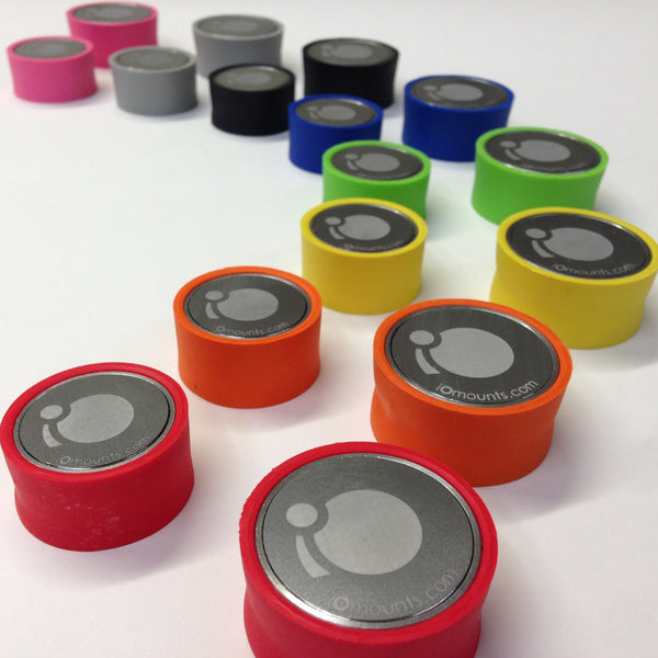 iOcore in 8 colors; Black, Blue, Green, Grey, Orange, Pink, Yellow, and the iOmounts original Red.