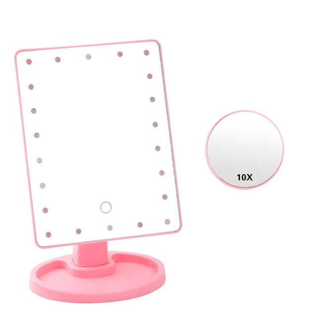Foldable Triple-Panel LED Make Up Mirror