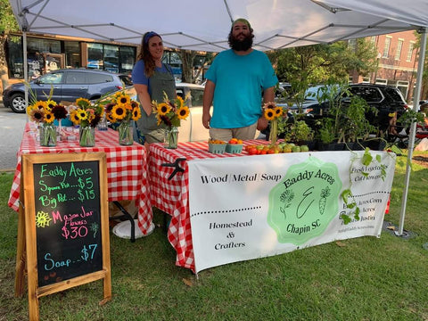 Justin and Becca at a farmers market