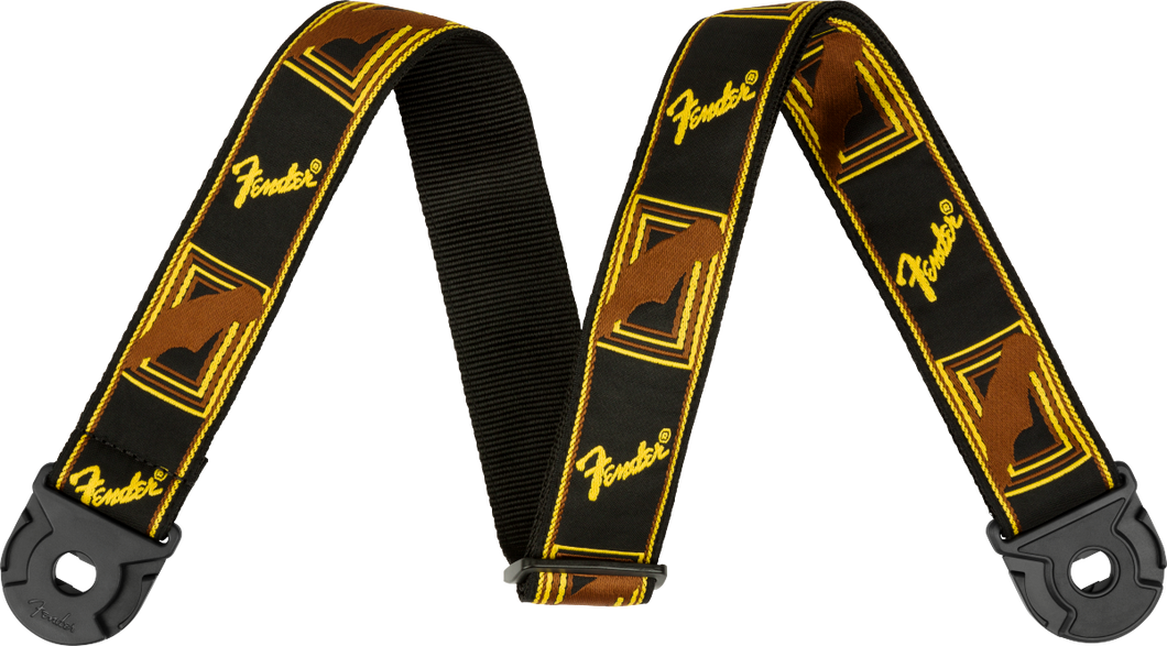 Fender Quick Grip Locking End Strap, Black, Yellow and Brown, 2