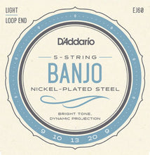 Load image into Gallery viewer, D'Addario EJ60 Banjo Strings Nickel Wound 9-20 Light