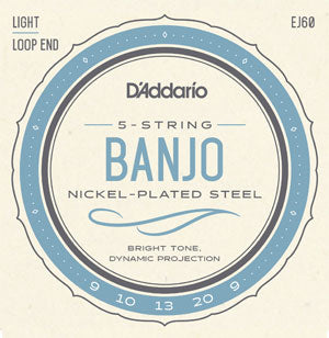 D'Addario EJ60 Banjo Strings Nickel Wound 9-20 Light