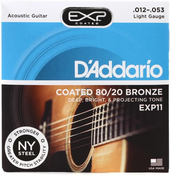 D'Addario EXP11 - 80/20 Bronze Coated LIght 12-53 Acoustic Guitar Strings