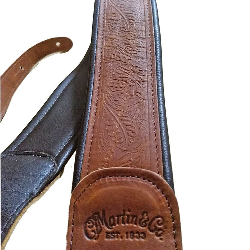 Martin Guitar Strap Embossed Garment Leather  - Brown
